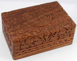 Om Wooden Carved Box