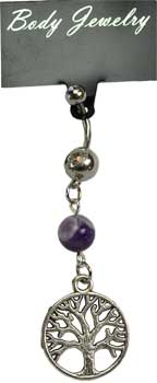 Amethyst Tree of Life belly ring
