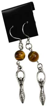 Tigers Eye Goddess earrings