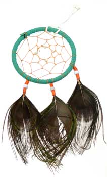 Peacock dream catcher 4""