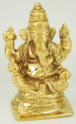 Ganesh Sitting Brass 3""