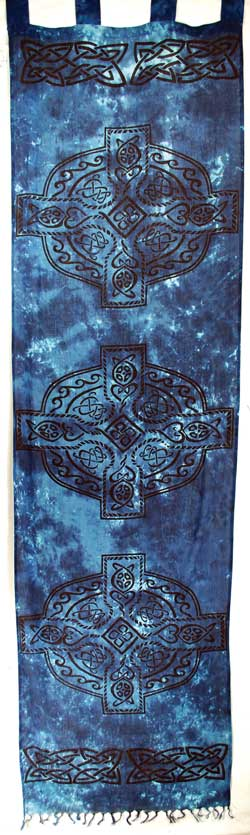 "Celtic Cross curtain blue & black (22""x72"")"